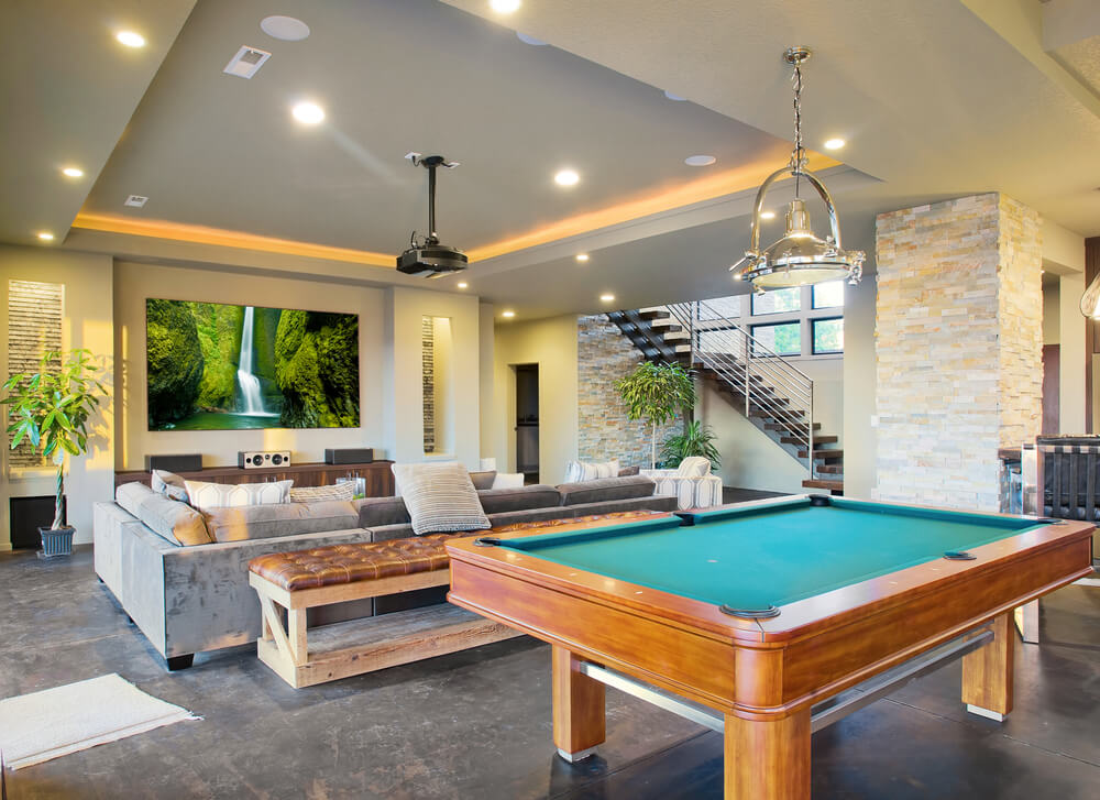 spacious man cave with area and billiards table - Man Caves