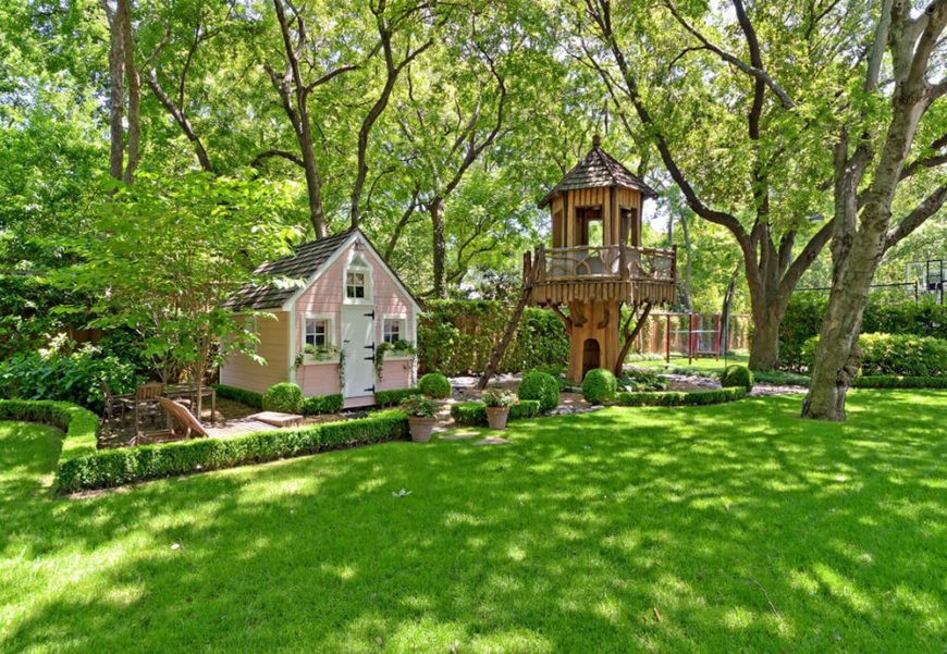 Playset Ideas Backyard backyard playset backyard playset in home decoration attachment kallhome collection A Small Fairy Cottage Has Its Own Garden And Landscaping With A Treehouse Tower Off