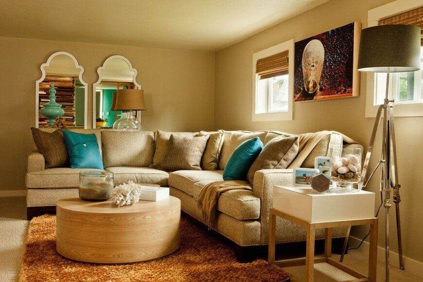 Cozy Family Room Ideas Part - 40: This Gorgeous And Cozy Family Room Uses Bright Turquoise Accents To Add  Color To The Room