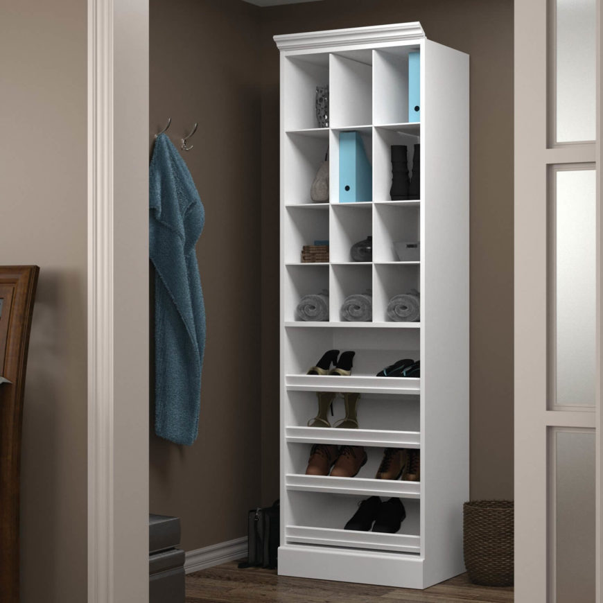 this shelf is built for shoes and other small objects like purses this is - Closet Shelving