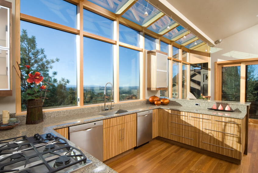 23 gorgeous g shaped kitchen designs images for Kitchen designs with big windows
