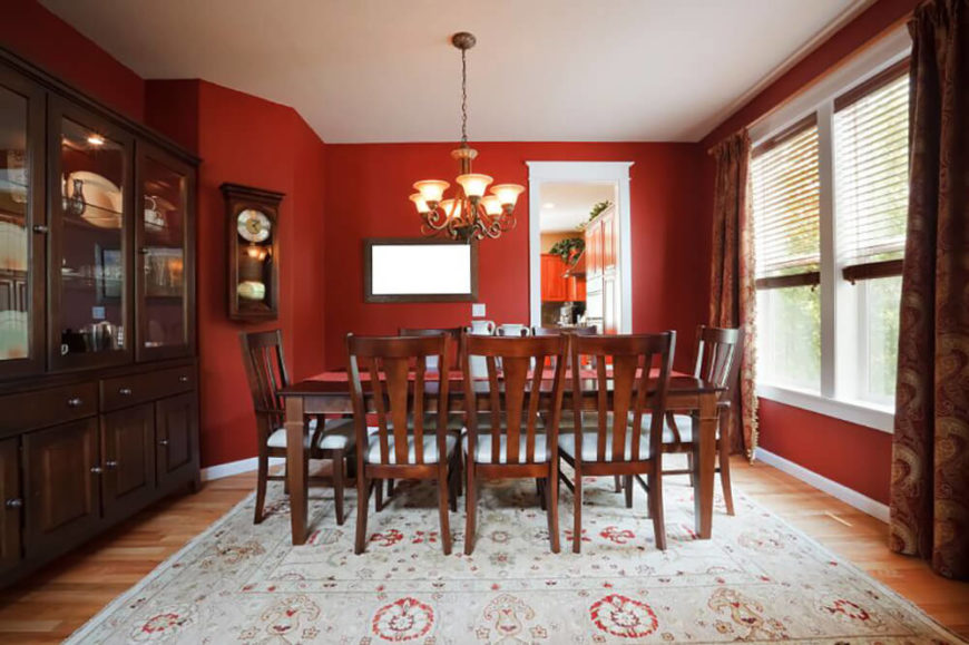 Bold Red Walls Accentuate The Dark Wood And Brings Out The Red Accents In  The Area Part 90