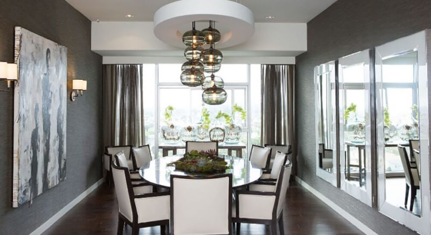 this beautiful dining room brightens up the dark color of the walls and floor with white - Contemporary Dining Room Chandelier