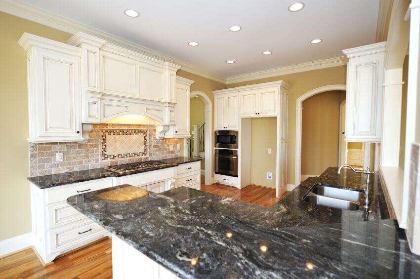 Black Granite Kitchen Countertops simple white kitchen cabinets with black granite countertops