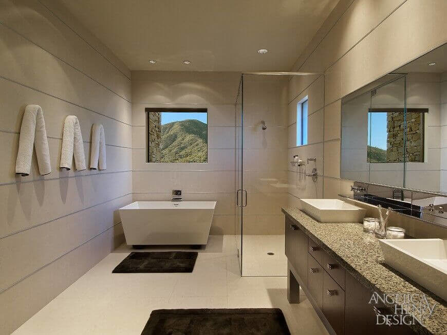 20 elegant bathrooms with corner showers designs for Bathroom designs without tub