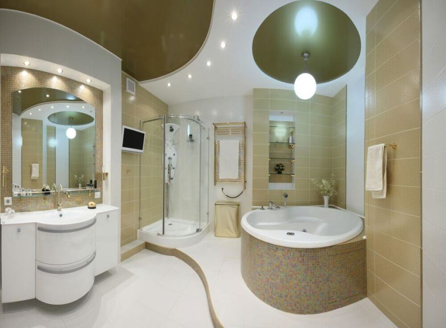 This Beige And White Master Bathroom Features A Curved Shower Stall Tucked Into The Rear Left