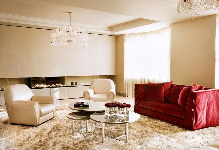 A Single Rich Red Sofa Adds Bold Color To This Otherwise White Living Room,  And Part 78