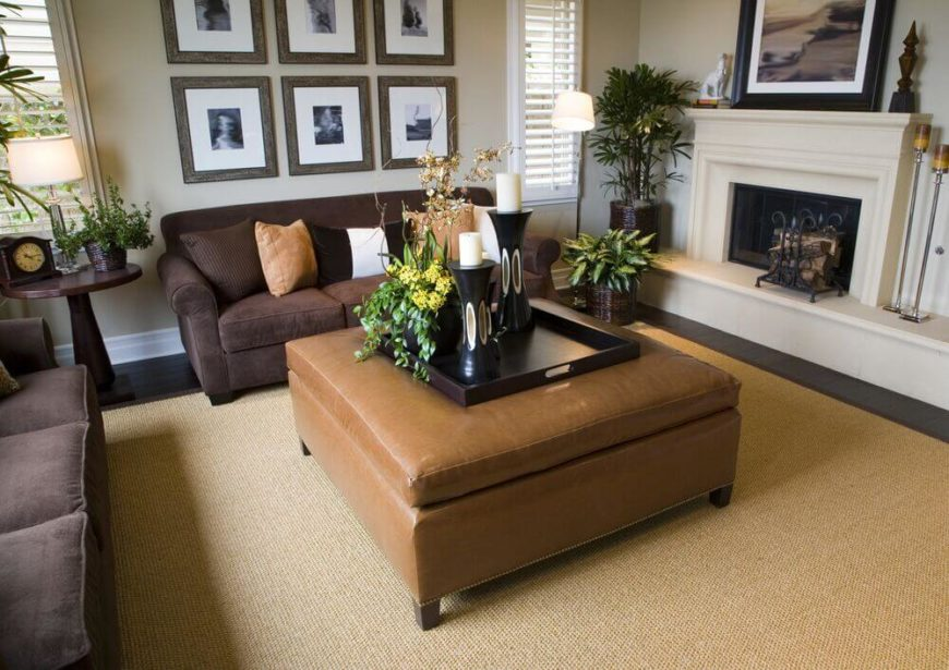 A Much Lighter Brown Ottoman Doubles As A Coffee Table Between Two  Chocolate Brown Velour