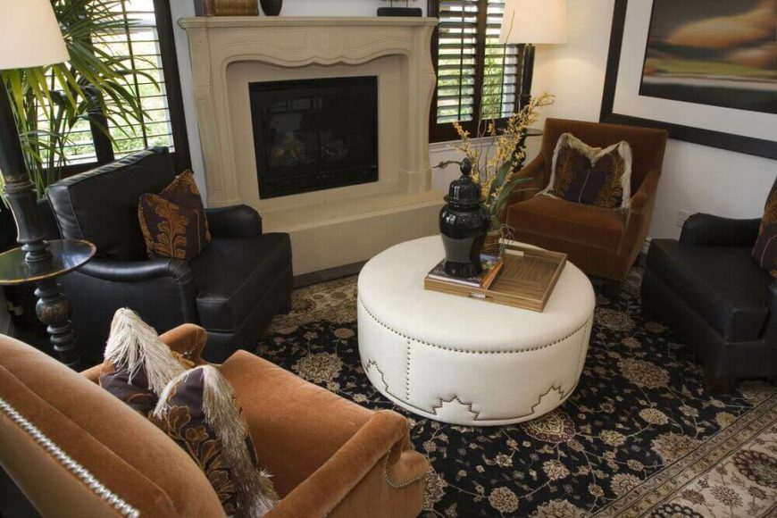 22 sophisticated living rooms with leather furniture designs for Living room layout 4 chairs