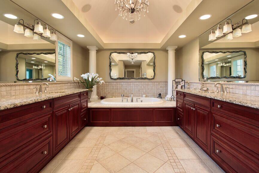 Rich red wood throughout this bathroom creates a thoroughly luxurious  effect. 21 Fantastic Bathrooms With Two Mirrors  PICTURES