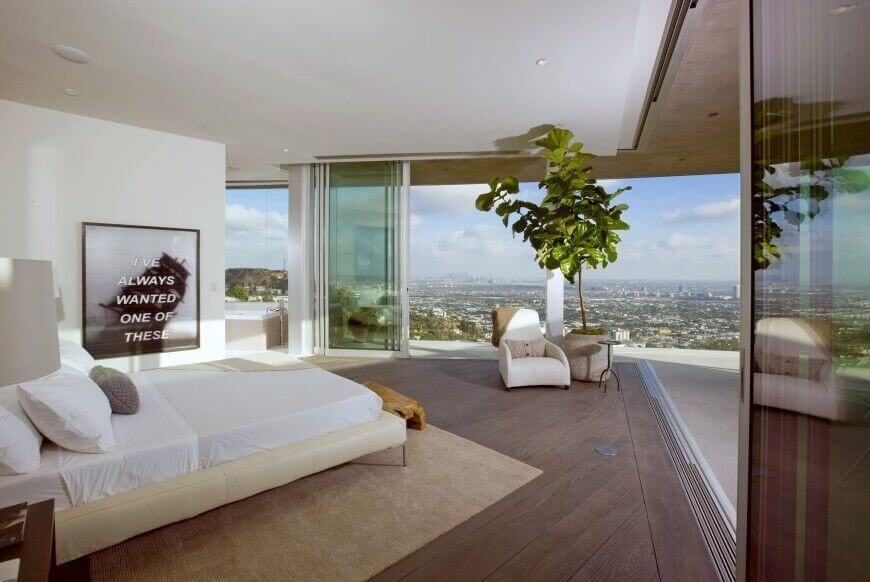 This understated bedroom allows for great views of the surrounding  cityscape  The use of white. 28 Beautiful Bedrooms With White Furniture  PICTURES