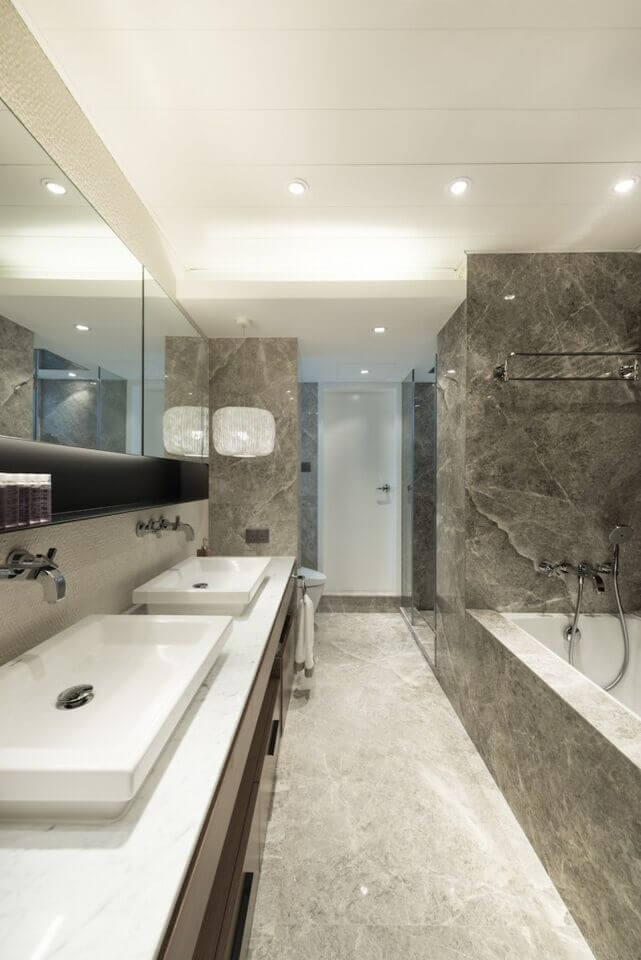 Gorgeous Gray Marble Offsets The Dark Wood And White Accents The Dual Vanity Running Along