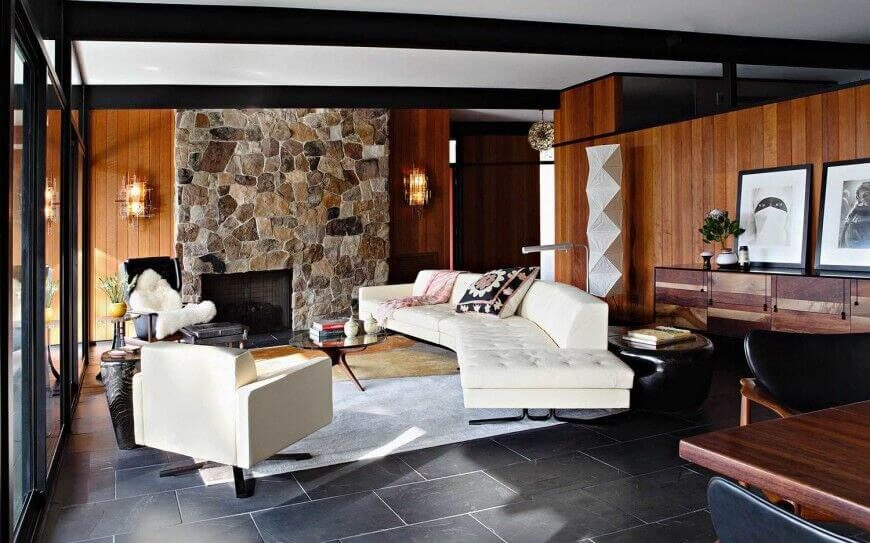 This Contemporary Setting Pairs Rich Materials With A Modern Sense Of Scale The Stone Fireplace