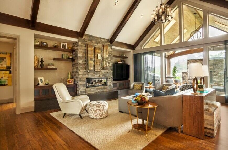 32 spectacular living room designs with exposed beams for Great room addition off kitchen