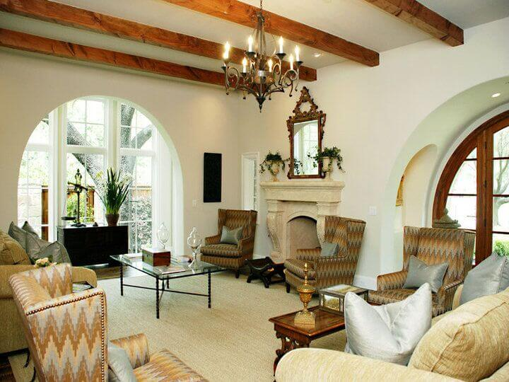 This Traditionally Appointed Living Room In All White Features A Rich Array  Of Furniture And A