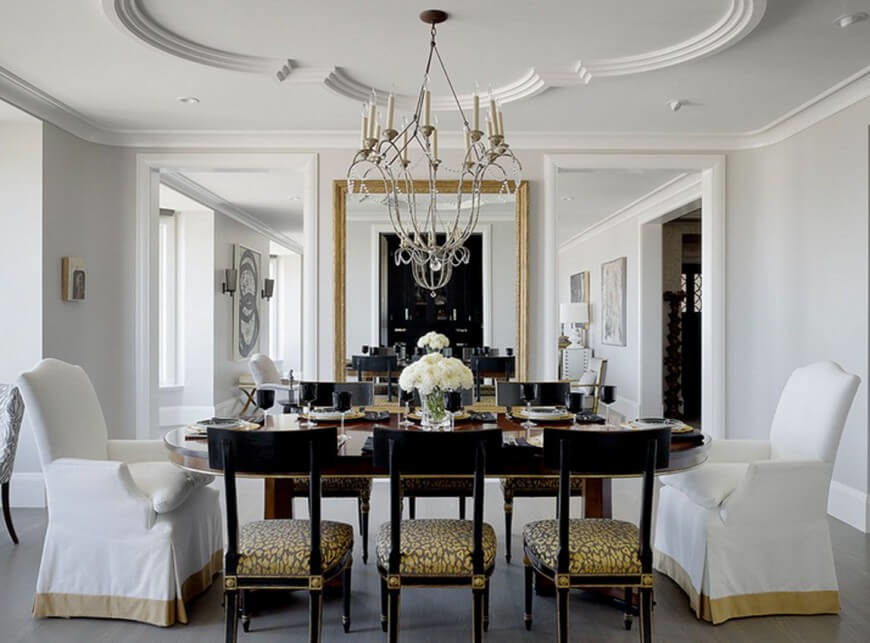 This Elegant Opulent Dining Room Features Two Upholstered Chairs Complete With Skirts An Enormous