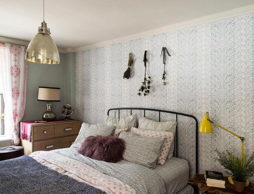 bedrooms with an interesting accent wall detailed patterns