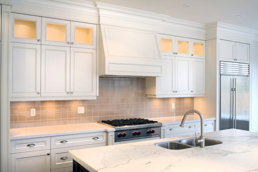 Upper Cabinet Lighting. These Little Spotlights Add A Subtle Glow To The  Counter Space For Part 48