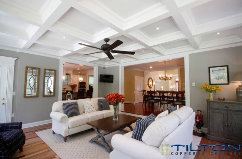 White Rafters Cross Each Other To Form A Sectional Ceiling Giving The Room An Element