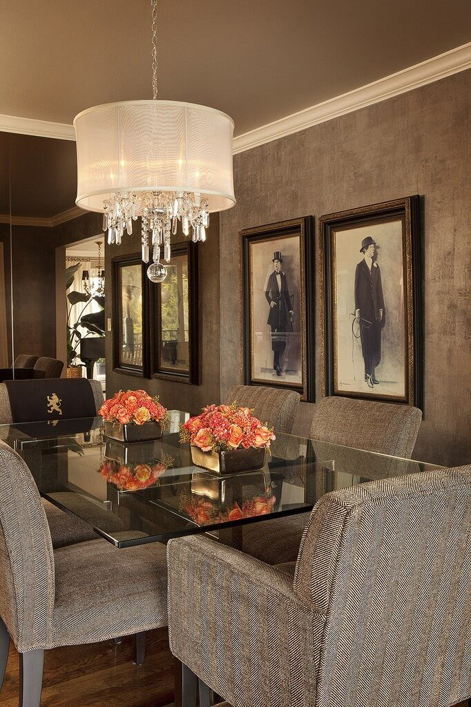 The Sophisticated Feel Of This Room Makes For A Great Atmosphere. Striking  Upholstered Dining Chairs