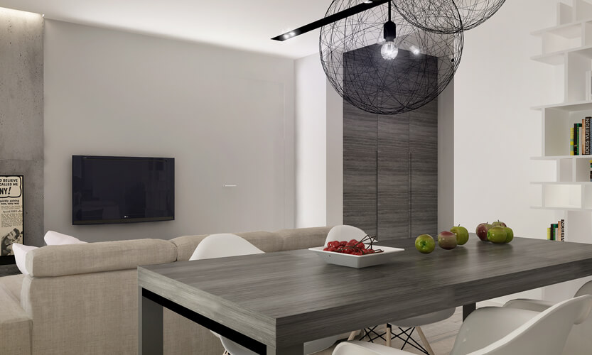 this dining room design is simple and streamlined allowing for the subtle use of textures - Dining Room Table With Bench Against Wall