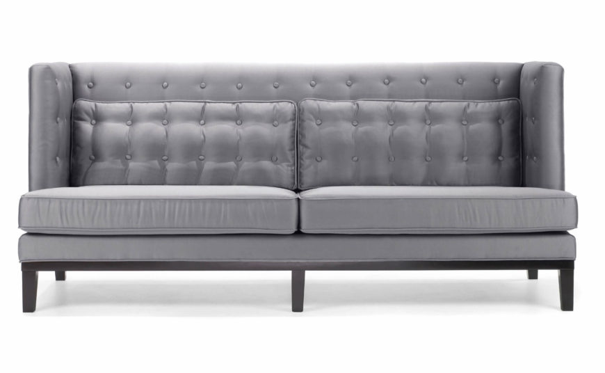 Elegant The Bright Silver Tone Of This Sofa Invites A Closer Look, Revealing  Bespoke Button Tufting