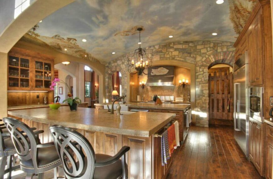 light wood and stone is dressed up further by the incredible tuscan mural painted across the - Tuscan Kitchen Sinks