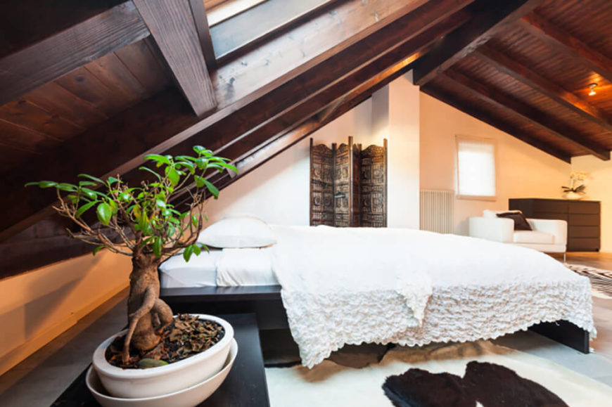 With A Steeply Pitched Ceiling It Can Be Hard To Incorporate A Headboard.  Leave It