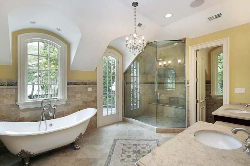 This Spacious Bathroom Features A Large Corner Shower, With A Unique Angled  Ceiling. The