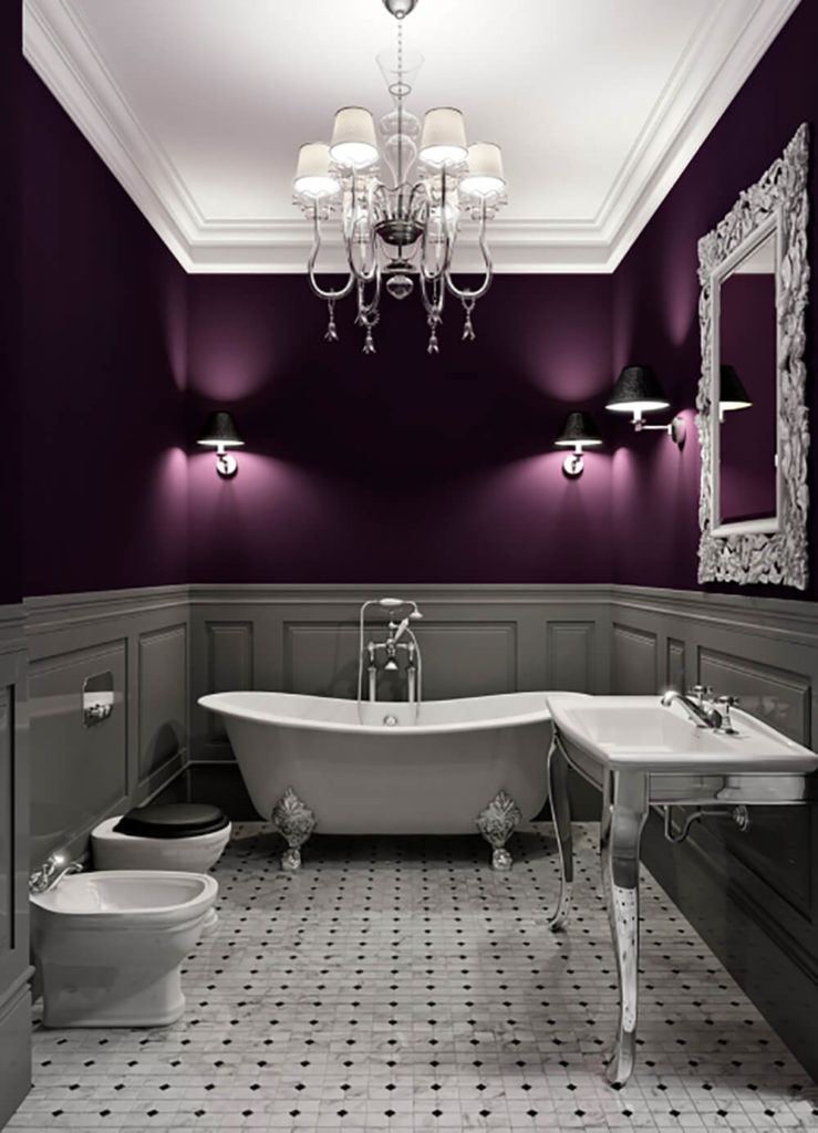 27 relaxing bathrooms featuring elegant clawfoot tubs for Dark purple bathrooms