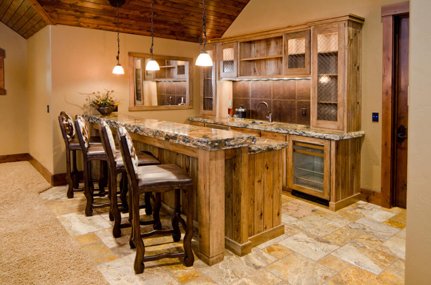 another incredible wood and tile home bar with a rich granite and rustic pine throughout - Home Bar Design Ideas
