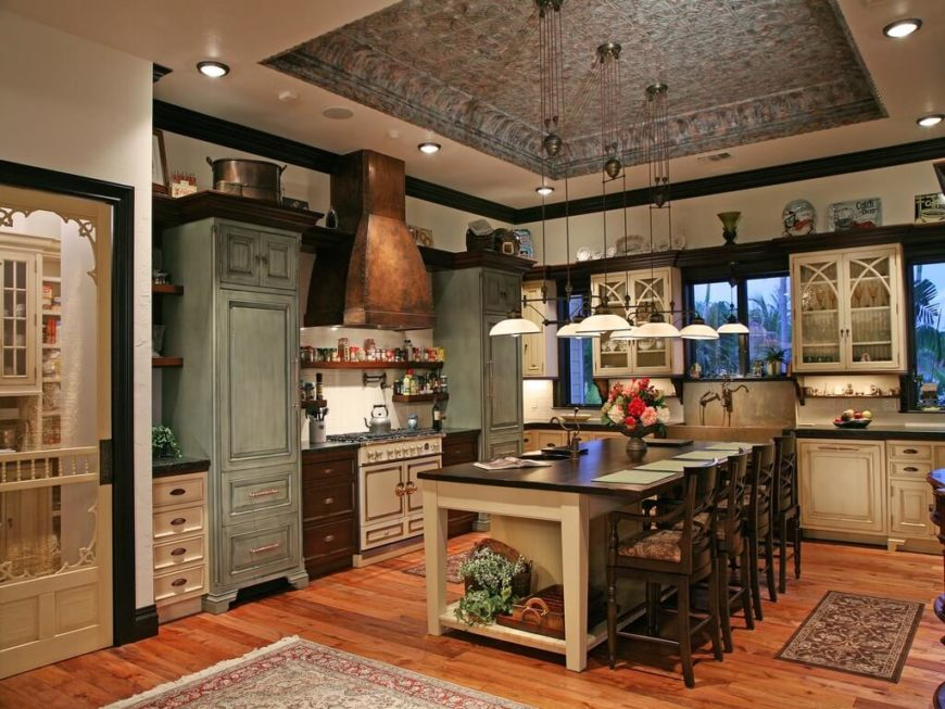 A beautiful rustic country kitchen with a tin tray roof  butler s pantry   and distressed. 27 Quaint Rustic Kitchen Designs  TONS OF VARIETY