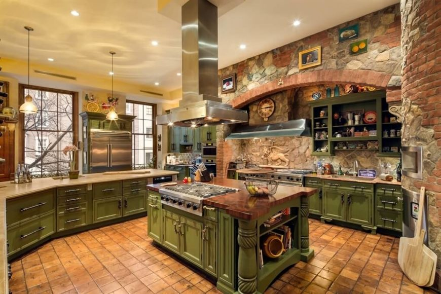 A Brick And Stone Rustic Kitchen With A Wealth Of Distressed Green  Cabinetry. Large Windows