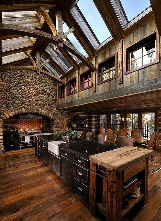 A Rustic Kitchen Filled With Light From The Row Of Skylights In The  Beautifully Arched Ceiling Part 51