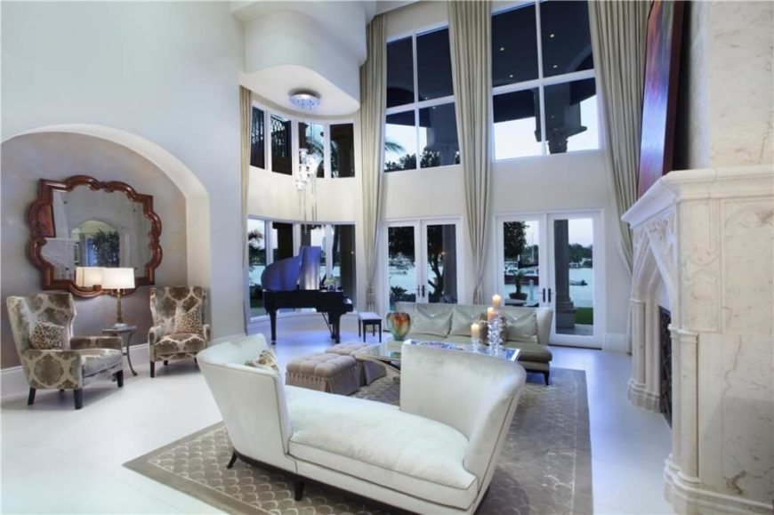 A Modern Design Is Prevalent In This Living Room With Unique Double Backed