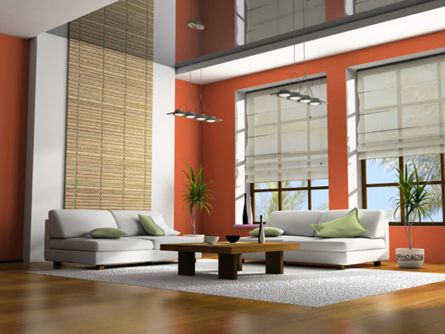 Wall Decor For Large Spaces Part - 49: This Living Room Is Quite Simple, Yet Still Very Spacious. Hints Of Eastern  Design