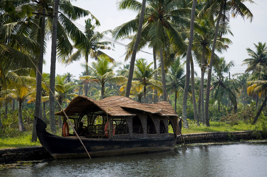 A lovely luxury houseboat located in Kerala, India. These slow-moving barges are used mostly for leisure travel.
