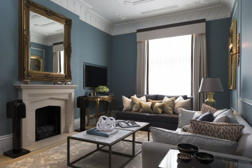 an elegant living room with a few contemporary details including a