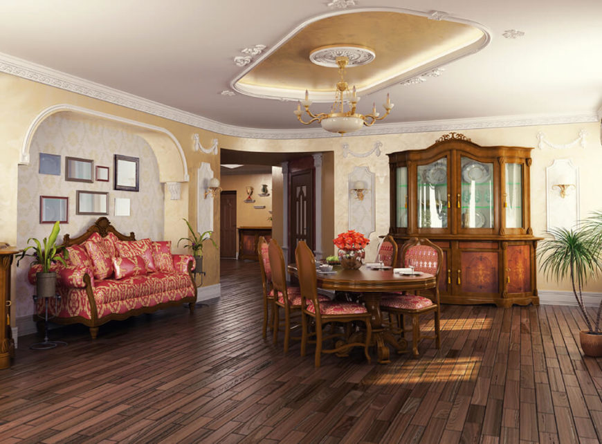 A Beautiful Luxurious Living Room And Dining Area With Wallpaper Custom Tray Ceiling