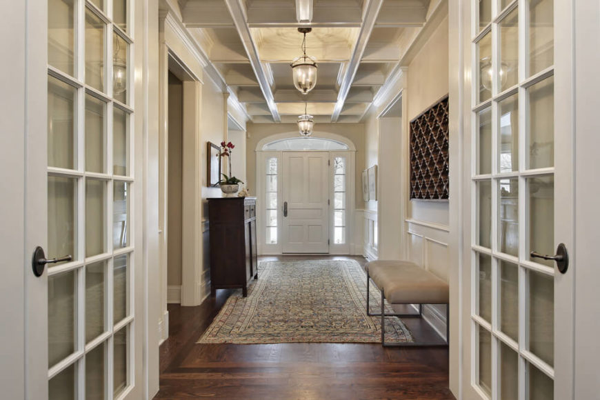 Coffered Ceiling Foyer : Gorgeous foyers with wainscoting