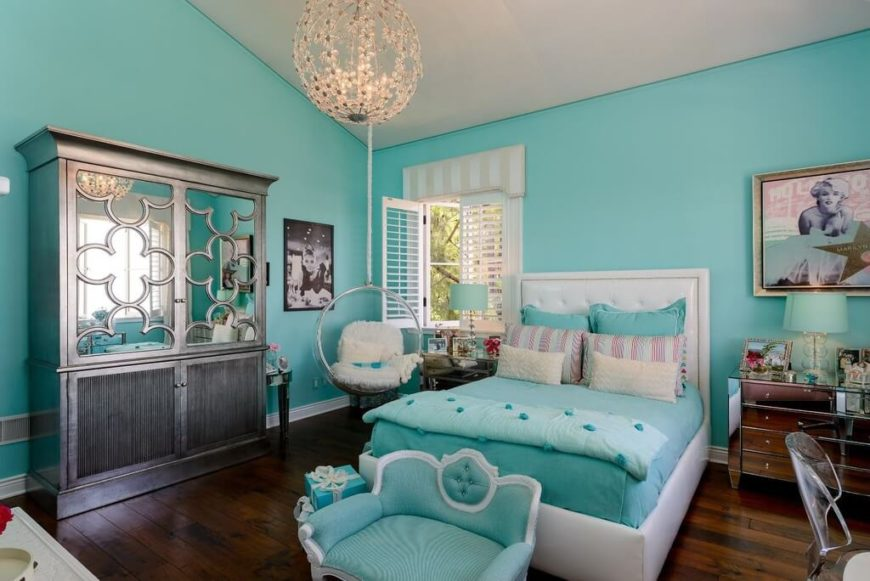 an elegant teenage girlu0027s room in tiffany blue featuring a suspended chair mirrored armoire - Kids Bedroom