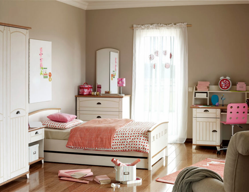 A feminine bedroom with taupe walls and white furniture  featuring pink  accents including the bedding. 44 Beautiful Kids Rooms For Boys And Girls  PICTURES