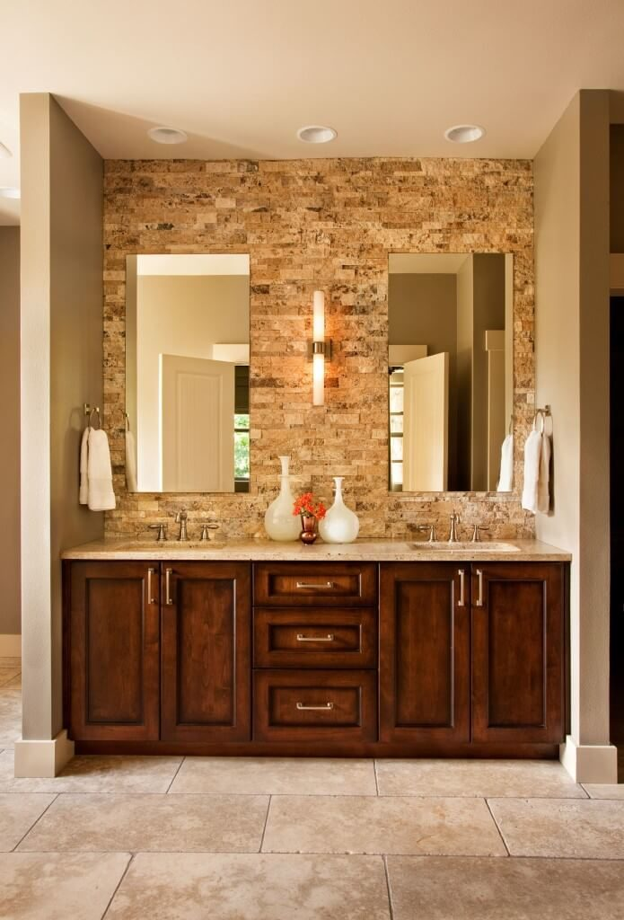 another rich wood vanity at the center of this bathroom featuring large format stone tiles bathroom magnificent contemporary bathroom vanity lighting
