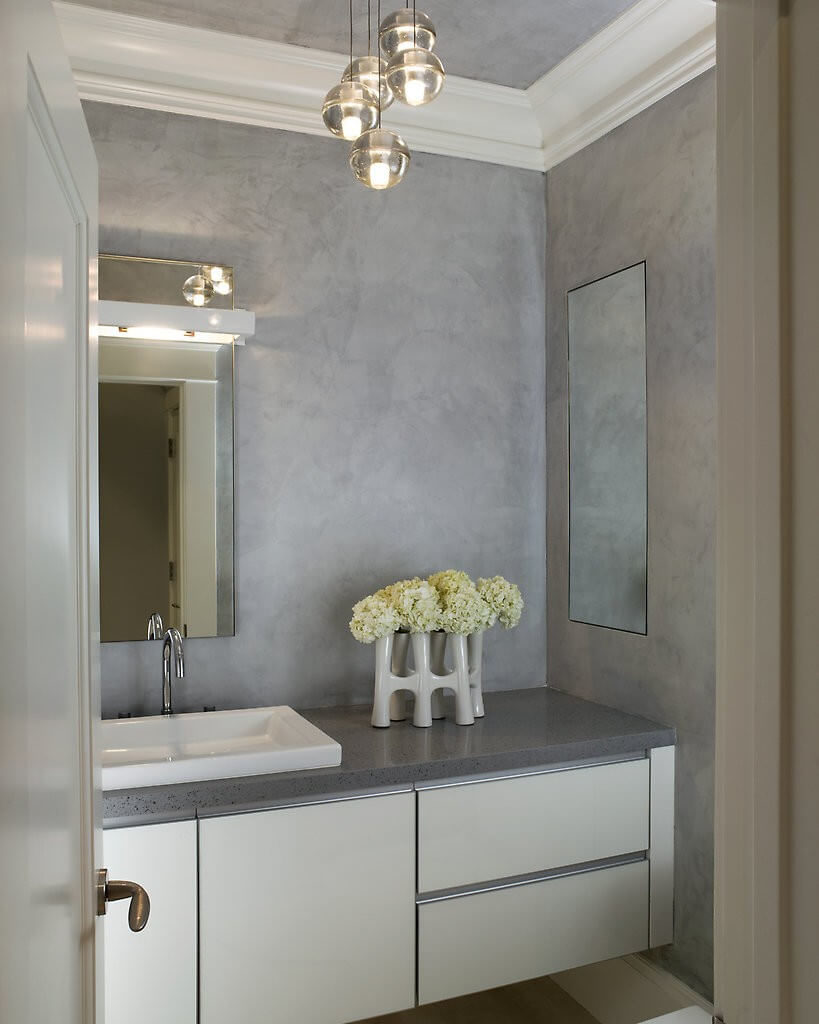 Elegant master bathrooms - A Peek Into This Elegant Master Bathroom Shows The Textured Gray Walls Meant To Emulate The
