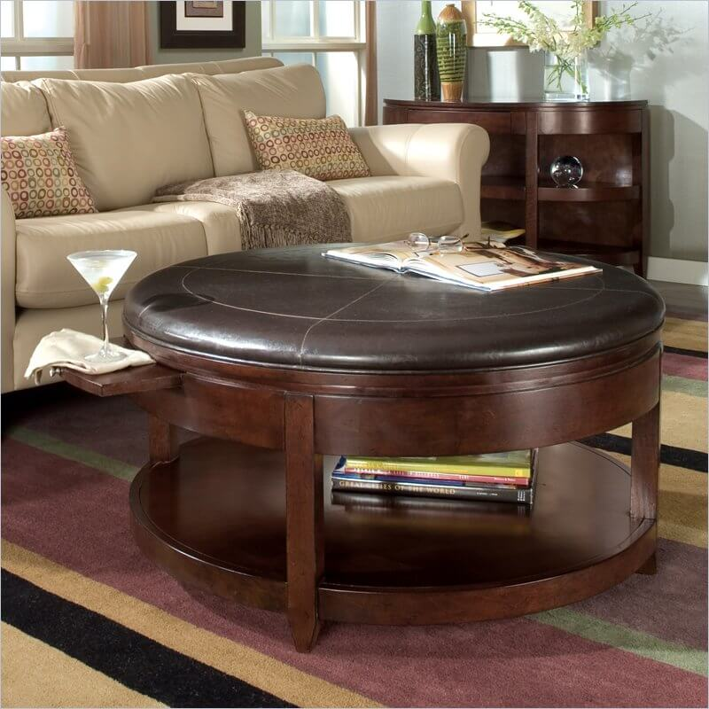 Our First Ottoman Hybrid Is A Large Circular Model With A Sleek Leather Top The