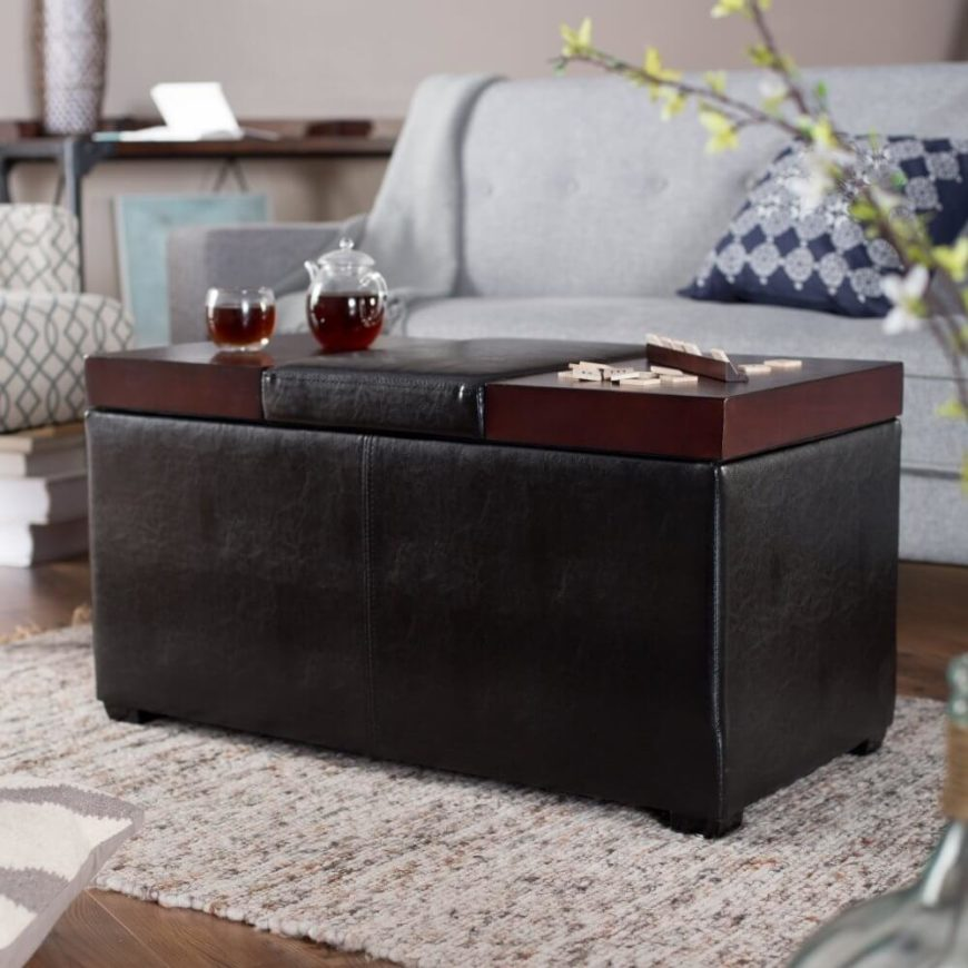 Large Coffee Table Ottoman. Nesting Modern Wood Coffee Table
