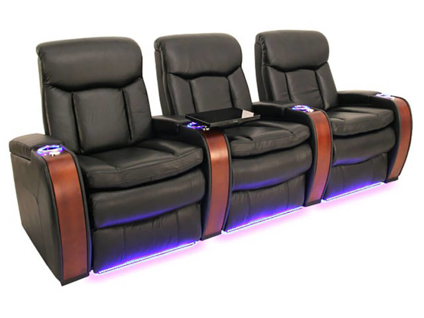 the world of home theater seating led lights run beneath the chairs