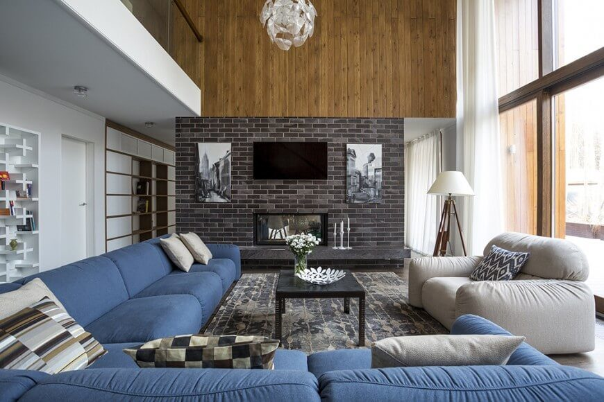 Here is another example of a little brick making a big impact  Supporting a  fireplace. 38 Beautiful Living Rooms with Exposed Brick Walls