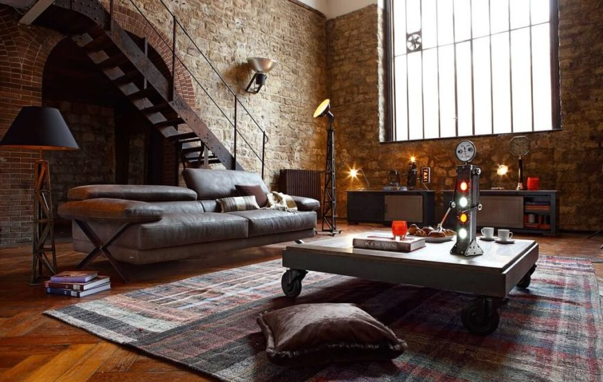 ever thought about setting up shop in the style of dr frankensteins laboratory brick - Brick Living Room Decor