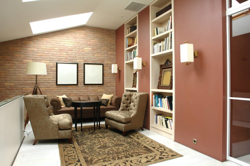 Brick in smaller spaces can help lend rooms, such as this small library, the gravitas of much larger collections.